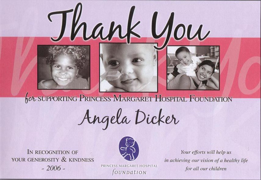 A Thank you to Angela Dicker for Original Artwork donated as part of a special Fundraising Concert for BATTEN DISEASE