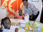 Talitha, Tasha, and Mother Rose Inne at Angela Dicker's Paint 2 Relax Art Lesson