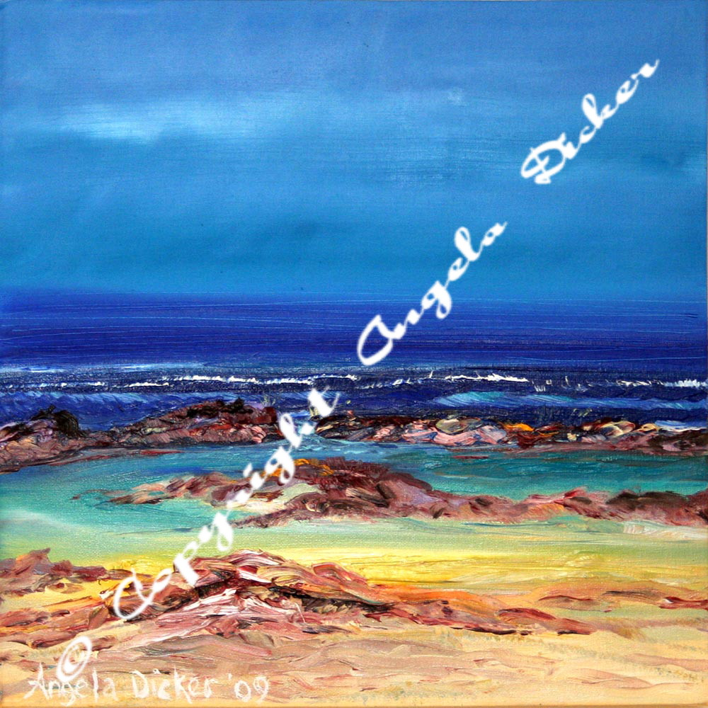Angela Dicker's Original artwork - Rockpool #1 - Oils. Quinns Rocks, Perth Australia