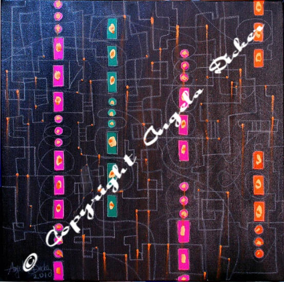 Angela Dicker's Original artwork - S.O.S - Inks and Gutta with a dash of oil paint and conte pencil that explores sound as a visual image.
