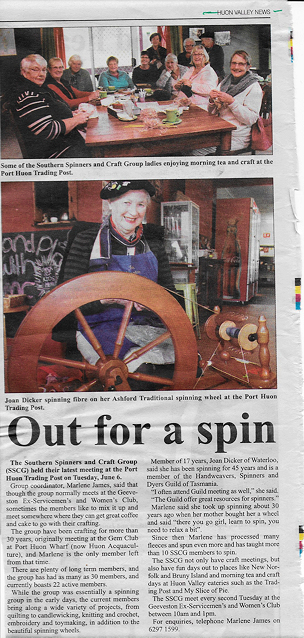 Joan Dicker spinning fibre on her Ashford Traditional spinning wheel at the Port Huon Trading Post