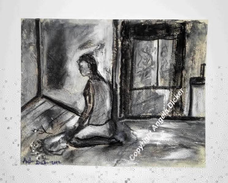Angela Dicker - Original Artwork - Rooms with Memories 5 – Resignation  Charcoal and acrylic on prepared paper.315mm x